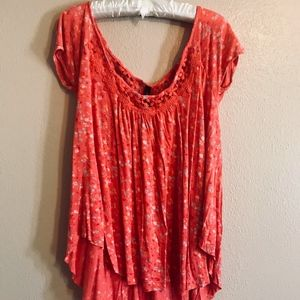 Jessica Simpson Coral&Floral High-Low Summer Top